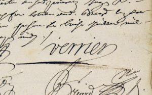 6 [p.27] - Signature d'Etienne Verrier au bas de l'acte de vente de la maison Thibaudeau, 13 juillet 1730