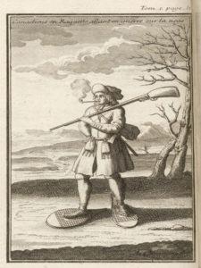 SCOTIN, Jean-Baptiste, Canadien en raquettes allant en guerre sur la neige, fin XVIIe