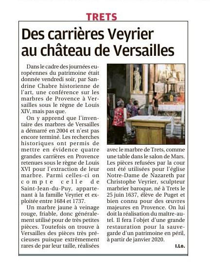 2019.09.22 - La Provence - Des carrières Veyrier au château de Versailles